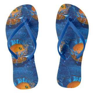 Orange Splashing Flip Flops