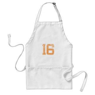 Orange Sports Jerzee Number 16.png Standard Apron