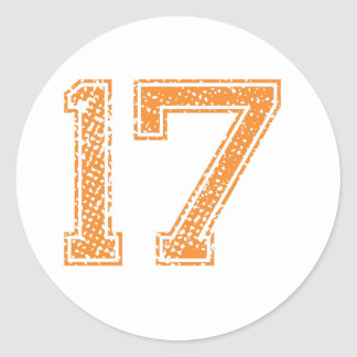 Orange Sports Jerzee Number 17.png Classic Round Sticker