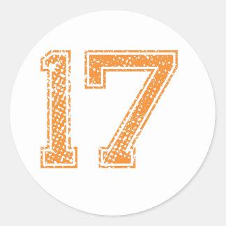 Orange Sports Jerzee Number 17.png Round Sticker
