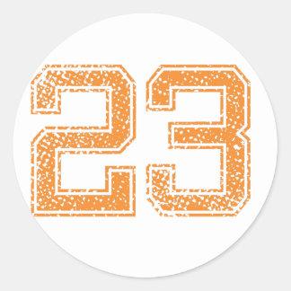 Orange Sports Jerzee Number 23.png Classic Round Sticker