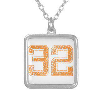 Orange Sports Jerzee Number 32.png Silver Plated Necklace