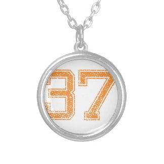 Orange Sports Jerzee Number 37.png Silver Plated Necklace