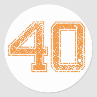 Orange Sports Jerzee Number 40.png Classic Round Sticker