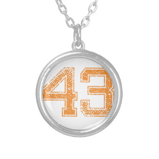 Orange Sports Jerzee Number 43.png Silver Plated Necklace
