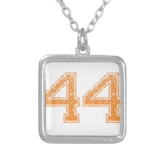 Orange Sports Jerzee Number 44.png Silver Plated Necklace