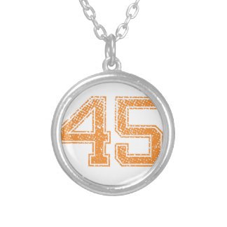 Orange Sports Jerzee Number 45.png Silver Plated Necklace