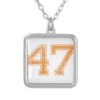 Orange Sports Jerzee Number 47.png Silver Plated Necklace