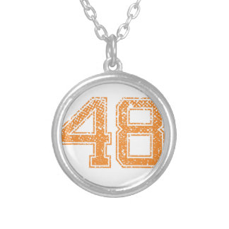 Orange Sports Jerzee Number 48.png Silver Plated Necklace