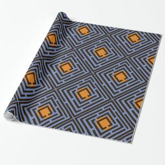 Orange Spot Black Maze Pattern on Custom Color Wrapping Paper