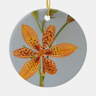 Orange spotted Iris called a  Blackberry lily Ceramic Ornament