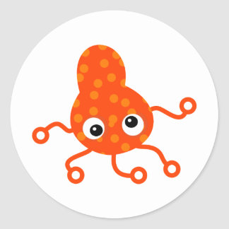 Orange Spotty Germ Classic Round Sticker