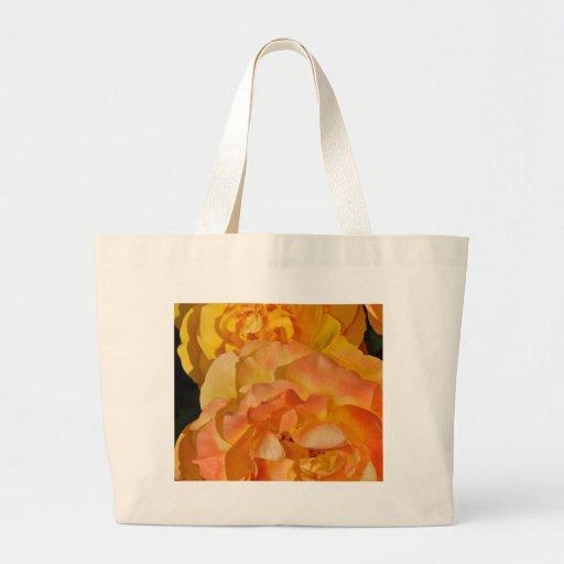 Orange spring rose blossoms canvas bag