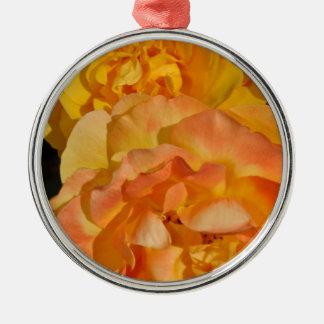 Orange spring rose blossoms Silver-Colored round ornament