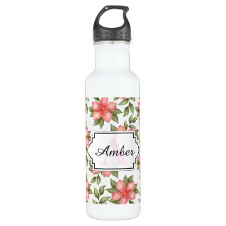 Orange spring watercolor flowers and vines 710 ml water bottle