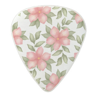 Orange spring watercolor flowers and vines acetal guitar pick
