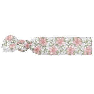 Orange spring watercolor flowers and vines hair tie