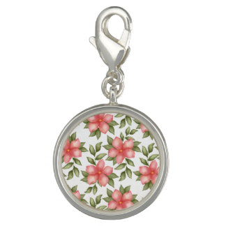 Orange spring watercolor flowers and vines photo charms