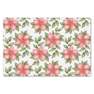 Orange spring watercolor flowers and vines tissue paper