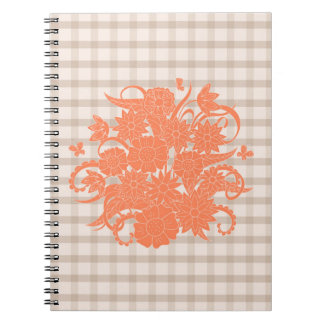 orange square pattern with to summer bouquet spiral notebook