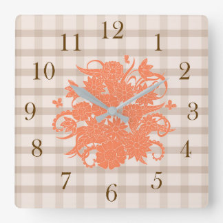 orange square pattern with to summer bouquet square wall clock