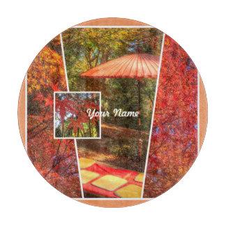 Orange Square Photo Fall Template Autumn Leaves Cutting Board