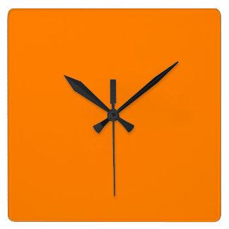 Orange Square Wall Clock