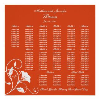 Orange Square Wedding Reception Seating Chart Poster