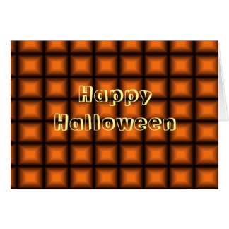 Orange Squares - Happy Halloween Greeting Card
