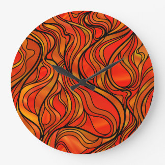 Orange Stained Glass Abstract Clocks