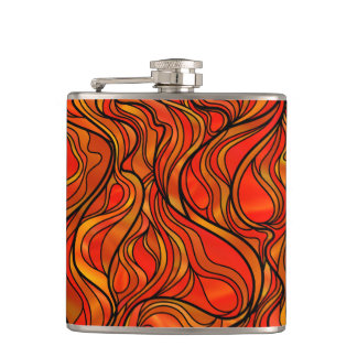 Orange Stained Glass Abstract Flask