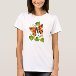 Orange Stained Glass Butterfly T-Shirt
