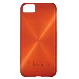 Orange Stainless Steel Metal Look Case For iPhone 5C