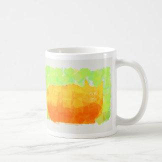 Orange stamp cat basic white mug