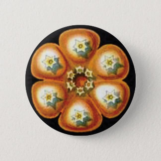 orange star flower pattern 2 inch round button