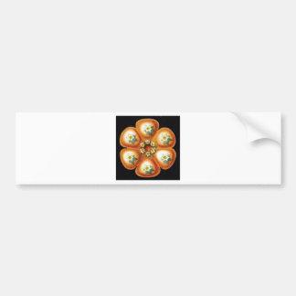 orange star flower pattern bumper sticker