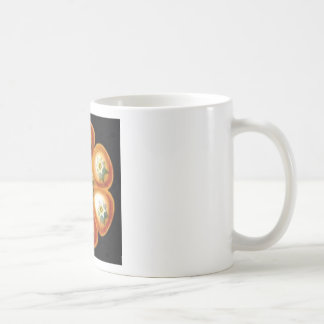 orange star flower pattern coffee mug
