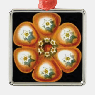 orange star flower pattern metal ornament