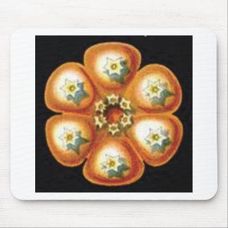 orange star flower pattern mouse pad