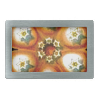 orange star flower pattern rectangular belt buckles