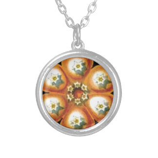 orange star flower pattern silver plated necklace