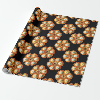 orange star flower pattern wrapping paper