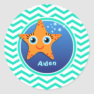 Orange Starfish; Aqua Green Chevron Sticker
