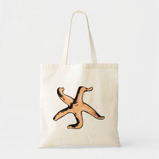 Orange Starfish Tote Bags
