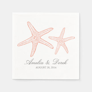 Orange Starfish Disposable Napkins
