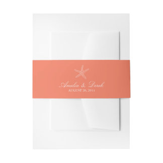 Orange Starfish Invitation Belly Band