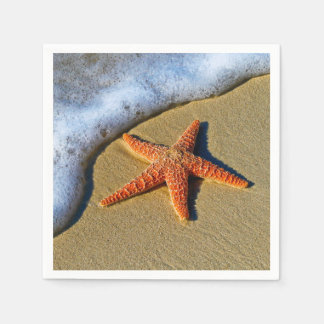Orange Starfish On Beach Disposable Napkin