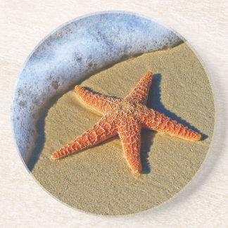 Orange Starfish On Beach Drink Coaster