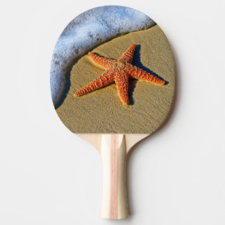 Orange Starfish On Beach Ping Pong Paddle