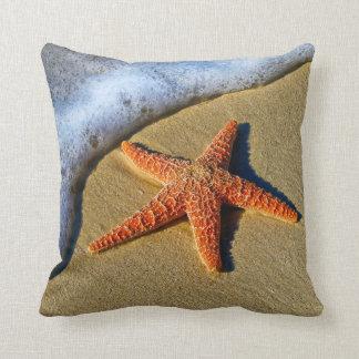 Orange Starfish On Beach Throw Pillow